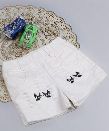 Aww Hunnie Eyes Style Rage Summer Shorts - White