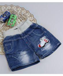 Aww Hunnie Shoe Design Shorts - Blue