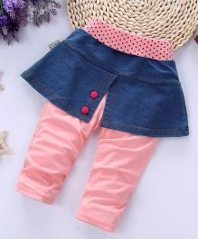 Pre Order - Awabox Denim Skirt Frilled Leggings - Baby Pink