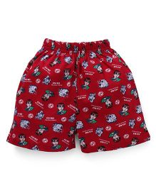 Ben 10 Printed Shorts - Dark Red
