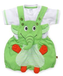 Wow Clothes Dungaree With T-Shirt Elephant Design - Green White