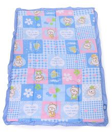 Little's Baby Quilt Teddy Print - Blue