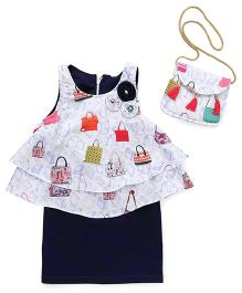 Little Kangaroos Party Wear Sleeveless Dress With Sling Bag Floral Applique - White Navy