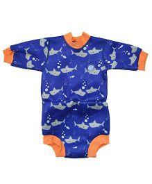 Splash About Shark Onesie Style Swim Suit - Blue