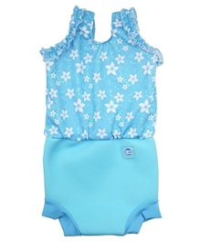 Splash About Flower Print Onesie Style Swim Suit - Blue