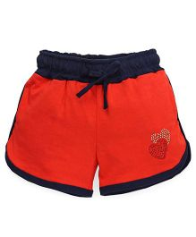 Olio Kids Drawstring Shorts Heart Studded Detail - Coral