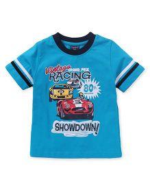 Taeko Half Sleeves Tee Racing Print - Blue