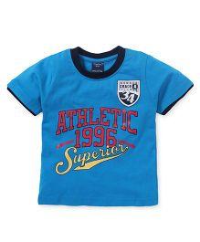 Taeko Half Sleeves Tee Athletic Print - Blue
