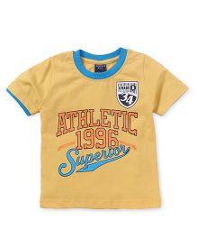 Taeko Half Sleeves Tee Athletic Print - Yellow