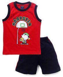 Taeko Sleeveless Printed T-Shirt & Shorts Set - Red