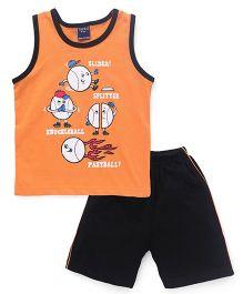 Taeko Sleeveless Printed T-Shirt & Shorts Set - Light Orange