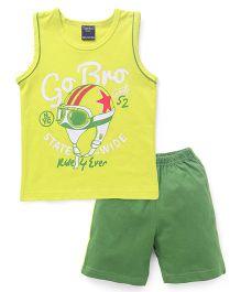 Taeko Sleeveless Printed T-Shirt & Shorts Set - Yellow