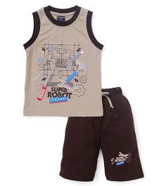 Taeko Sleeveless T-Shirt And Pants Printed - Beige Brown