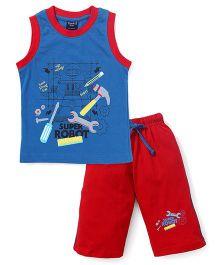 Taeko Sleeveless T-Shirt And Pants Printed - Blue Red