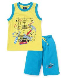 Taeko Sleeveless T-Shirt And Pants Printed - Yellow Blue