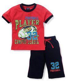 Taeko Half Sleeves T-Shirt Printed And Pants - Red Black