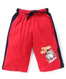 Taeko Tough Guy Printed Shorts With Side Stripes - Red