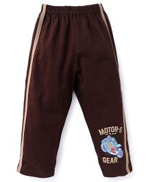 Taeko Track Pants Motor Gear Print - Brown
