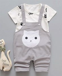 Pre Order - Awabox Cat Print Dungaree & T-shirt Set - Grey