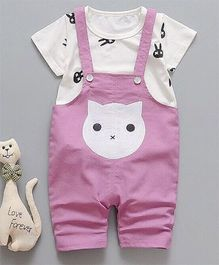 Pre Order - Awabox Cat Print Dungaree & T-shirt Set - Purple