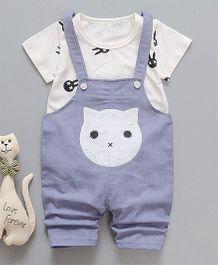 Pre Order - Awabox Cat Print Dungaree & T-shirt Set - Blue