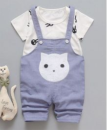 Pre Order - Awabox Cat Print Dungaree & T-shirt Set - Blue