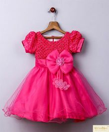 Whitehenz Clothing Bow Bell Applique Dress With Puff Sleeves - Dark Pink