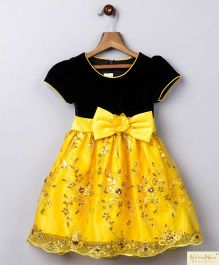 Whitehenz Clothing Dark Night Sequin Love Party Dress - Black & Yellow