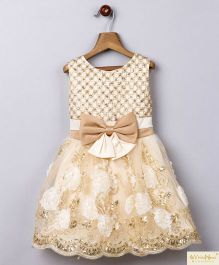 Whitehenz Clothing Sequins Work Glittery Party Dress - Golden