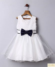 Whitehenz Clothing Bow & Lace Yoke Party Dress - White