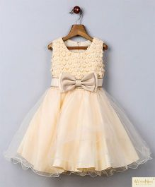 Whitehenz Clothing Bow & Lace Yoke Party Dress - Beige