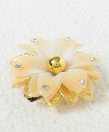 Kidcetra Flower & Beaded Hair Clip - Golden