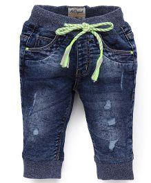 Vitamins Drawstring Jeans - Blue