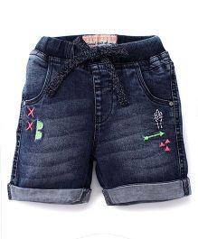 Vitamins Embroidered Denim Shorts With Turn-up Hem - Dark Blue