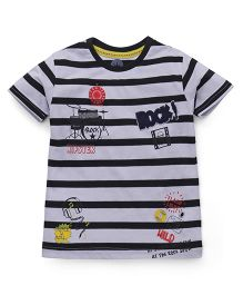 Vitamins Half Sleeves Striped T-Shirt Rock N Roll Print - Black