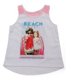 Vitamins Sleeveless T-Shirt Beach Print - Off White