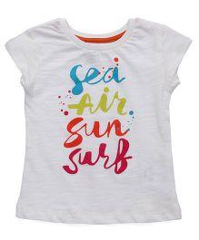 Vitamins Short Sleeves T-Shirt Sea Sun Surf Print - Off White