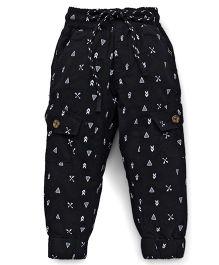 Vitamins Drawstring Pants Allover Print - Black