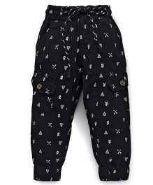 Vitamins Drawstring Pants Allover Print - Black