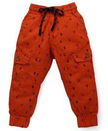 Vitamins Drawstring Pants Allover Print - Orange