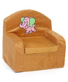 Lovely Kids Sofa Chair Elephant Embroidery - Light Brown