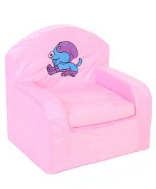 Lovely Kids Sofa Chair Dog Embroidery - Pink