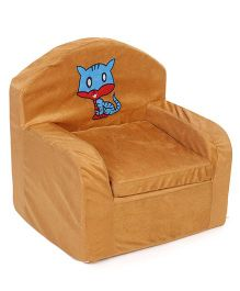 Lovely Kids Sofa Chair Cat Embroidery - Light Brown