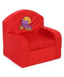 Lovely Kids Sofa Chair Dog Embroidery - Red