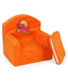 Lovely Kids Sofa Chair Dog Embroidery - Orange