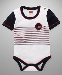 Babyhug Half Sleeves Stripes Onesie With Car Patch - White Black