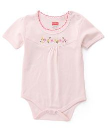 Babyhug Half Sleeves Floral Embroidered Onesie - Pink