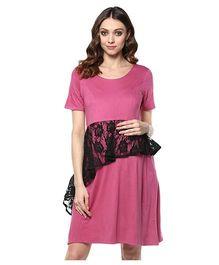 Mine4Nine Asymmetric Peplum Maternity Dress - Magenta