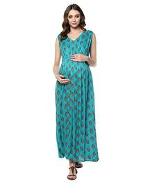 Mine4Nine Floral Maternity Maxi Dress - Green
