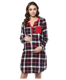 Mine4Nine Full Sleeves Maternity Dress Checks Print - Navy Blue Red